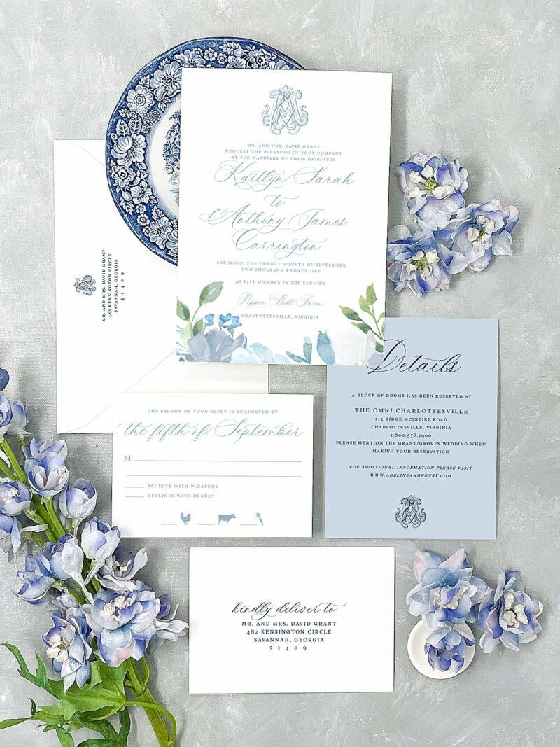 Savannah Watercolor Flower Monogram Wedding Invitation