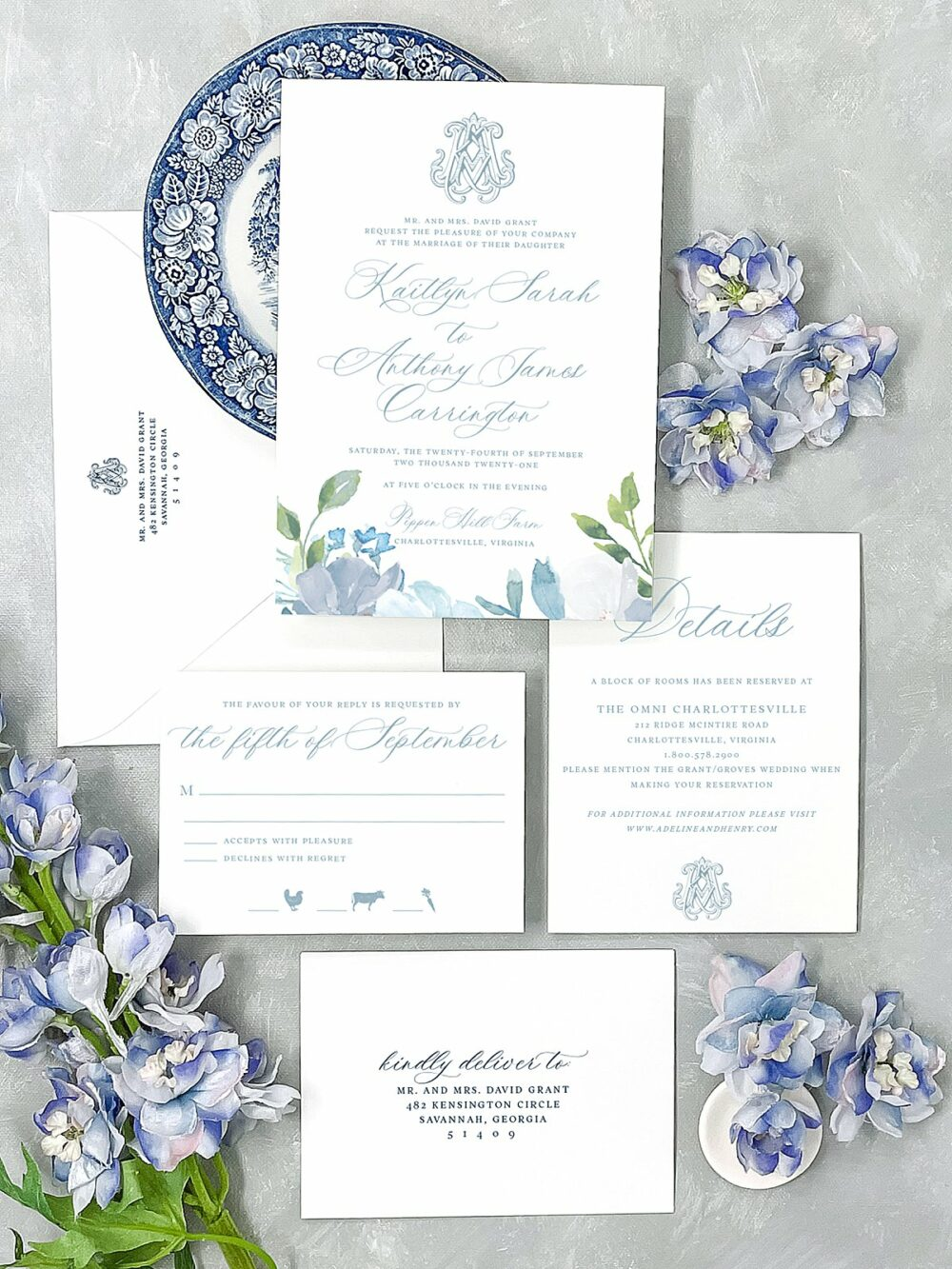 Savannah Watercolor Flower Monogram Wedding Invitation