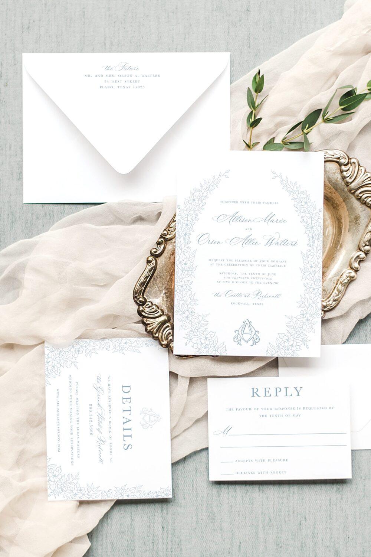 Annemarie Botanical Monogram Wedding Invitation