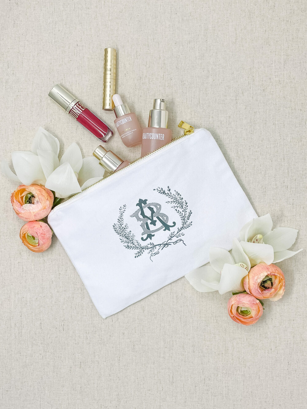 Monogram Bridesmaid Makeup Pouch