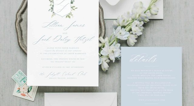 Lillian Watercolor Crest Wedding Invitation