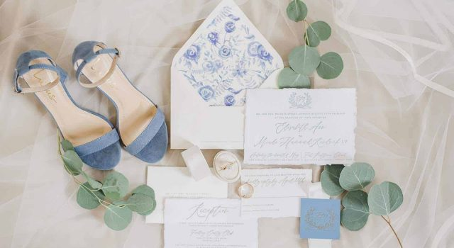 Semi-custom monogram wedding invitations by Cleveland, Ohio stationer Meg Morrow