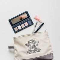 Monogram Embroidered Make up Bag