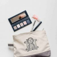 Monogram Embroidered Make up Bag